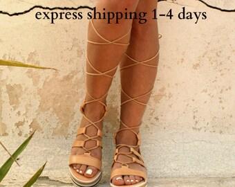 TROY leather gladiator sandals/ ancient Greek sandals/ lace up sandals/ spartan sandals/ handmade natural leather sandal/ strappy sandal