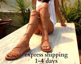 Sandales gladiateur en cuir CLEA / antique grecs sandales / dentelle haut sandales / Spartiates sandales / main sandale en cuir naturel / strappy sandale