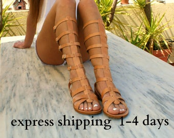 ARES en cuir sandales gladiateur / antique grecs sandales / dentelle haut sandales / Spartiates sandales / fait à la main sandale en cuir naturel / strappy sandale
