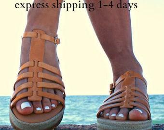 LYDIA sandals/ Greek leather sandals/ Gladiator sandals/ ancient grecian sandals/ platform sandals/ roman sandals/ natural beige sandals