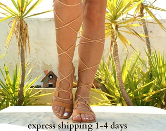 HECTOR leather gladiator sandals/ ancient Greek sandals/ lace up sandals/ spartan sandals/ handmade natural leather sandal/ strappy sandals