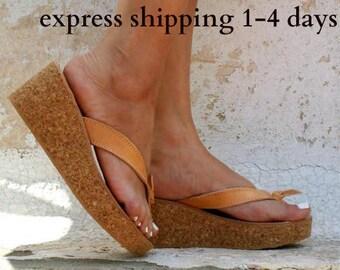 dd8afc45fa9c CASTALIA sandals  cork wedge platform  Greek leather sandal  platform  sandal  thong sandals  leather flip flops  natural beige sandals
