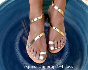 9924d1e0a CLEOPATRA 2 ancient Greek leather sandals  classic leather sandals   handmade sandals  strappy sandals  gold sandals  toe ring sandals