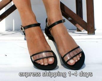 5d7f4fdb3 AMELIA 2 women transparent leather flat sandals  Women clear PVC sandals   See-through sandals  Leather-PVC ankle strap sandals