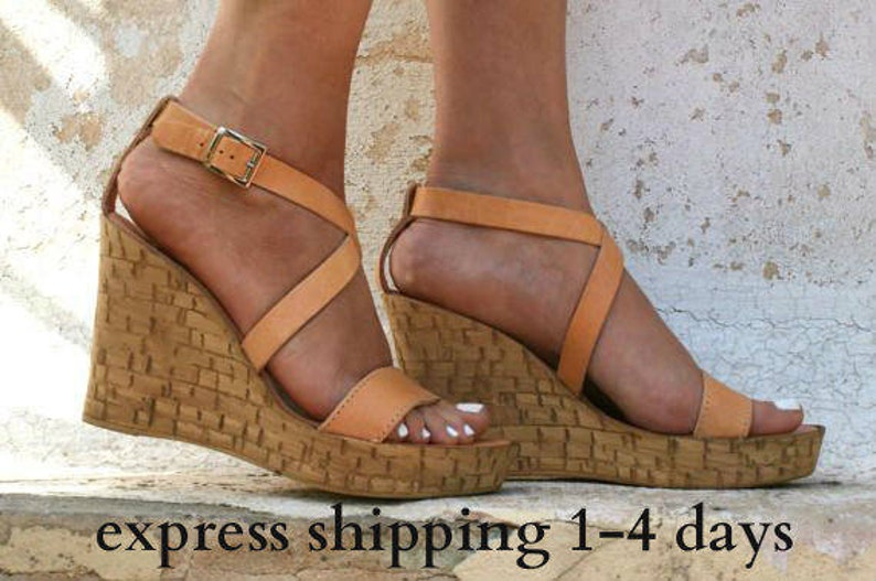 454815acd869 GAIA sandals  cork wedge platform  Greek leather sandal