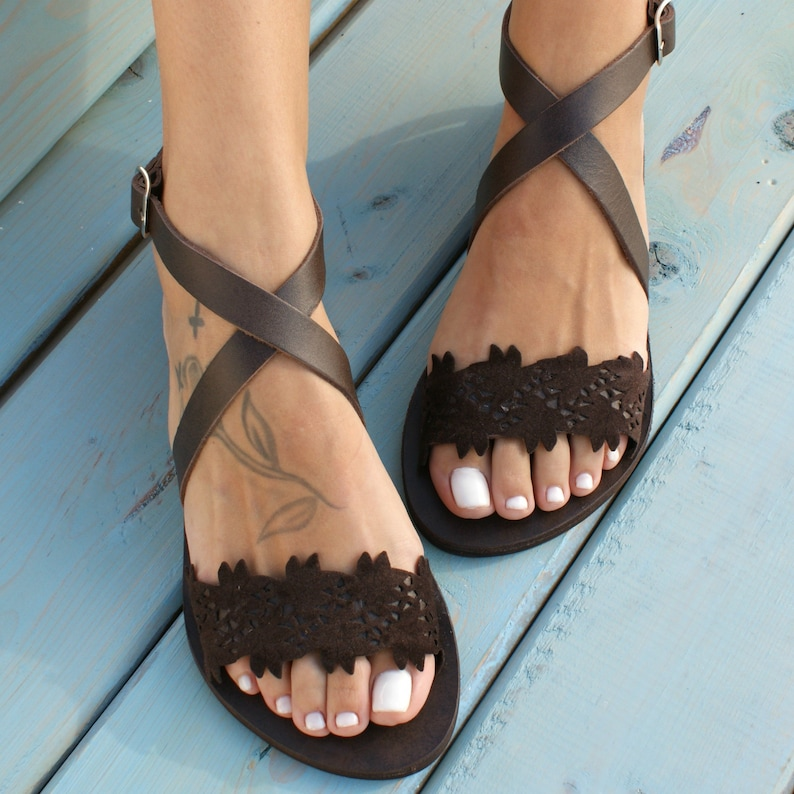 01d9744ab3902 Brown leather sandals/ ancient Greek sandals/ classic leather sandals/  handmade sandals/ brown shoes/ criss cross strap sandals/ THEODORA