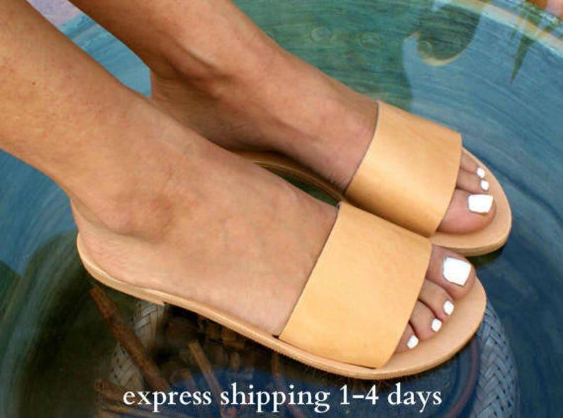 5572f7399f120 PANOREA sandals/ ancient Greek leather sandals/ slide sandals/ classic  leather sandals/ handmade sandals/ summer sandal/ minimalist sandal