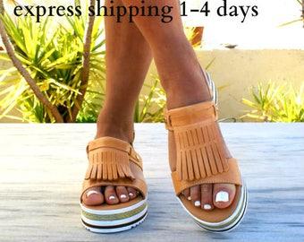 LETO sandals/ woman Greek leather sandals/ fringe sandals/ sandals/ leather platform sandals/ boho sandals/ natural color sandals
