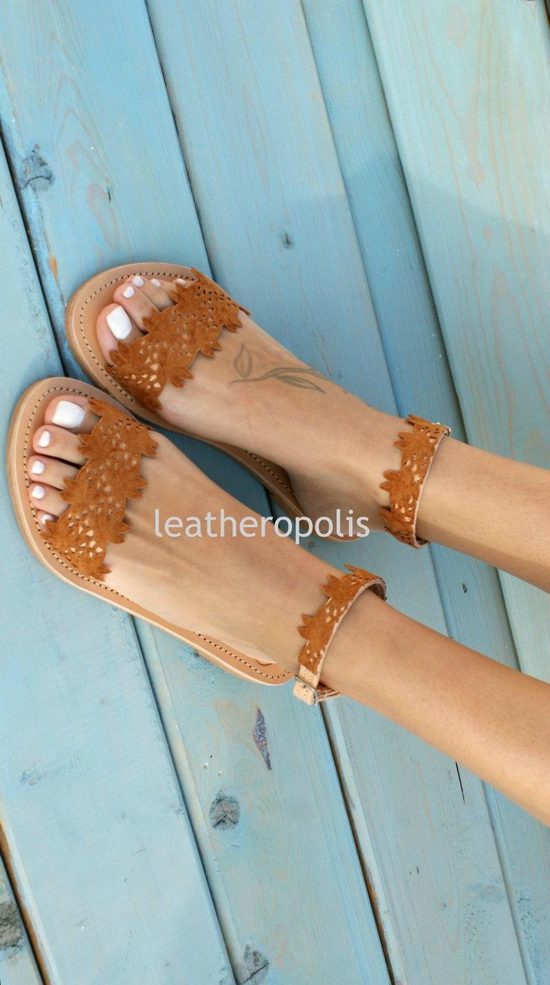 b0aa2900eb5d8 Cognac color leather sandals/ ancient Greek leather sandals/ classic  leather sandals/ handmade shoes/ ankle strap leather sandals/ STEPHANIA