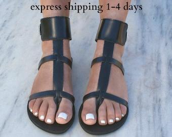 DANAE 2 sandals/ Greek leather sandals/ ankle cuff sandals/ ancient grecian sandals/ handmade thong sandals/ Greek flats/ black sandals