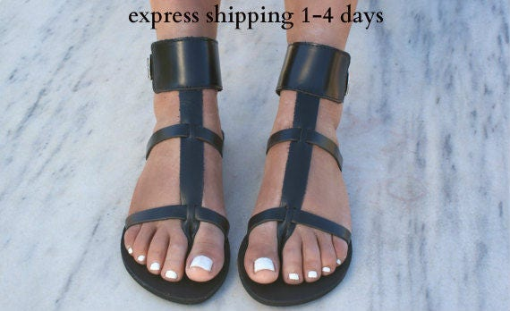 cheville grecques appartements sandales thong grec sandals grec 2 cuir main sandales antique sandales DANAE sandales sandales cuff noir en YfBxqH