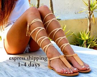 Sandales gladiateur en cuir IRINI / antique grecs sandales / dentelle haut sandales / Spartiates sandales / main sandale en cuir naturel / sandale T-strap