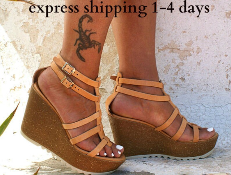 7db9677da09 OPHELIA sandals/ cork wedge platform/ Greek leather sandal/ platform  sandal/ gladiator sandal/ handmade sandals/ natural leather sandals