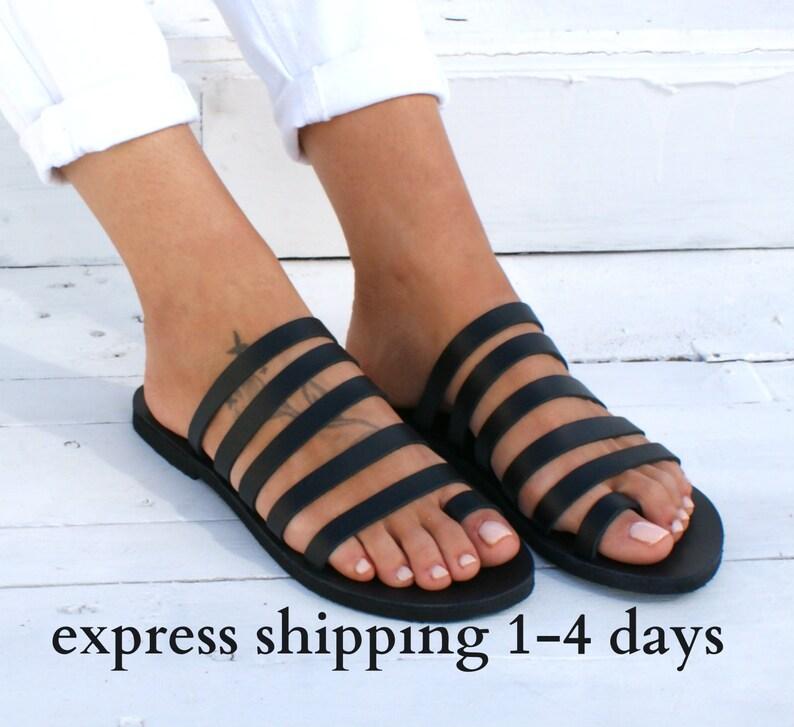 6faf0e514247e IONIA 3 sandals/ ancient Greek leather sandals/ strappy sandals/ roman  sandals/ toe ring sandals/ classic leather sandals/ black sandals