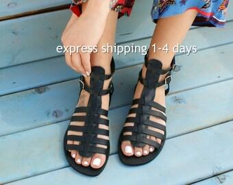 ERATO 2 sandals/ Greek leather sandals/ Gladiator sandals/ ancient grecian sandals/ handmade Greek sandals/ roman sandals/ black sandals