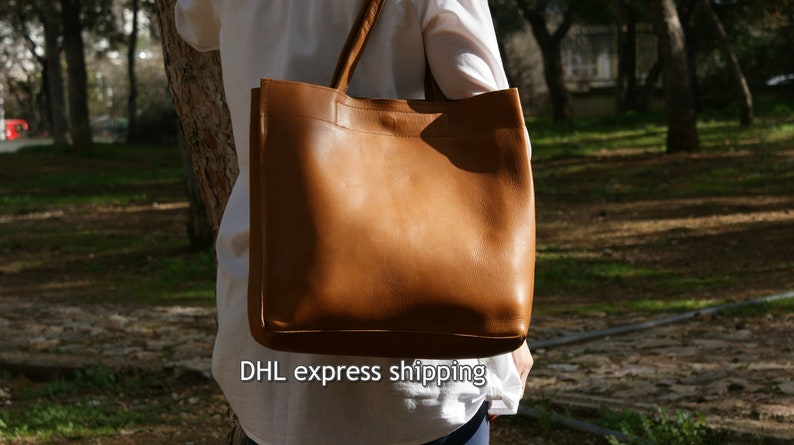 4353f0f2d4a2 Leather tote bag  womens handbag  shoppers bag  shoulder bag
