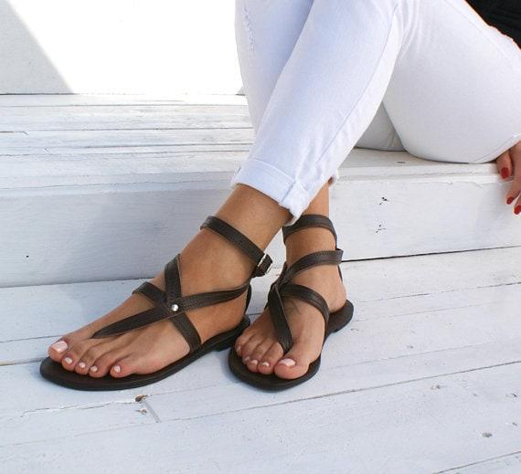 ANTIGONE main appartements grec cheville sandales en antique sandals cuff brown cuir sandales grecques sandales sandales sandales 3 grec String r7wqpar