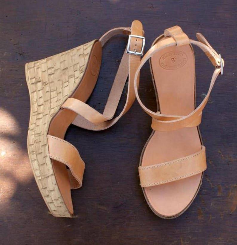 0a9b8b81c285 GAIA sandals  cork wedge platform  Greek leather sandal