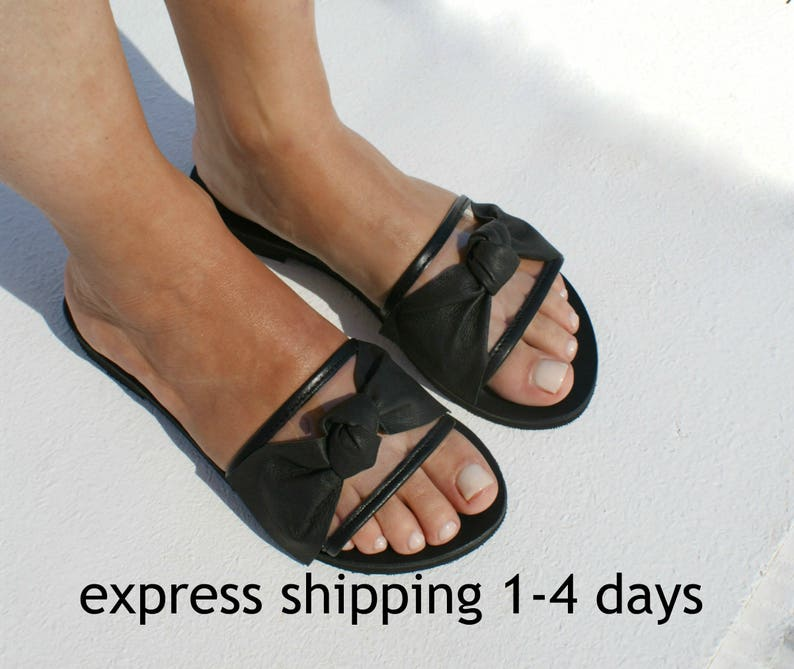 f82b32dc2a6dd LOLA 2 Women transparent leather flat sandals /Women clear PVC sandals  /See-through slides /Leather-PVC slides /women greek leather sandal