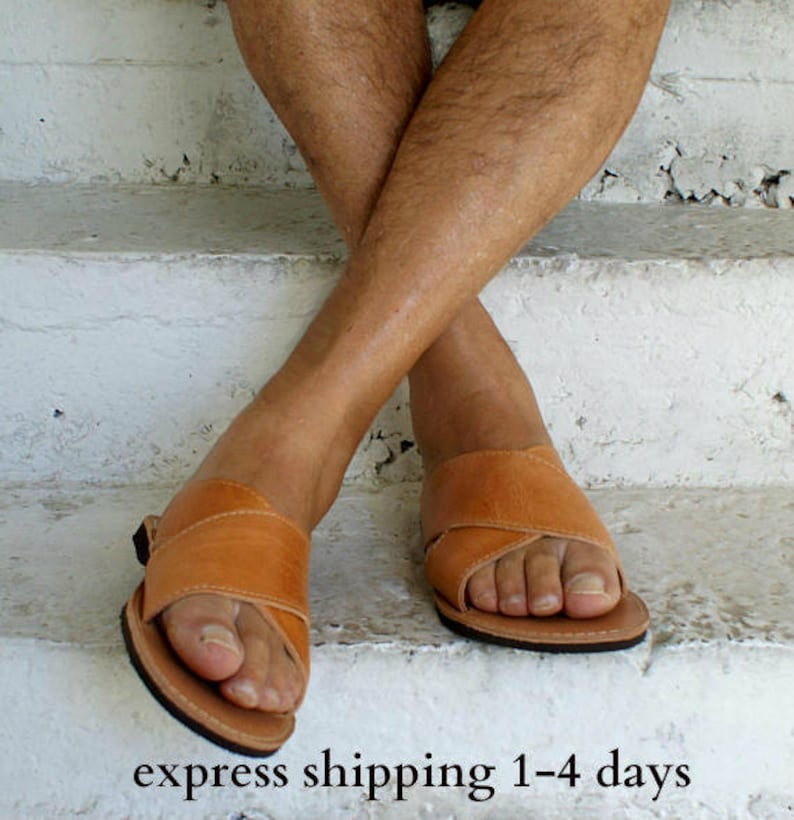 ee6401c43 CRONOS mens leather sandals  mens Greek leather sandals  mens