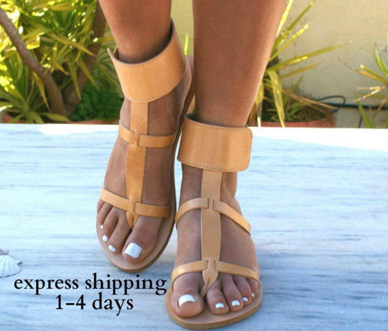 c772b18b6 DANAE sandals  Greek leather sandals  ankle cuff sandals