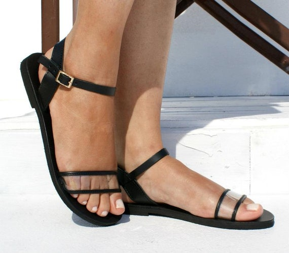 AMELIA 2 women transparent leather flat sandals Women clear PVC sandals See through sandals Leather PVC ankle strap sandals