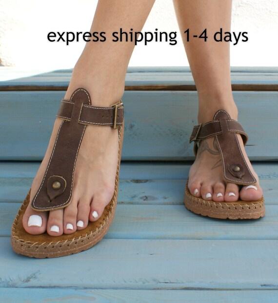 d384ebccbd22 ATLANTA Greek leather women s sandals  brown leather sandals  strappy  flats  comfortable summer shoes  walking shoes  low platform sandals