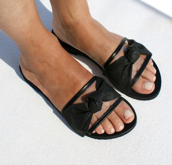 LOLA 2 Women transparent leather flat sandals Women clear PVC sandals See through slides Leather PVC slides women greek leather sandal