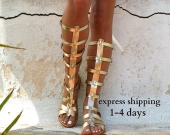 ARES 3 leather gladiator sandals/ ancient Greek sandals/ lace up sandals/ spartan sandals/ handmade sandals/ strappy sandal/ gold gladiators
