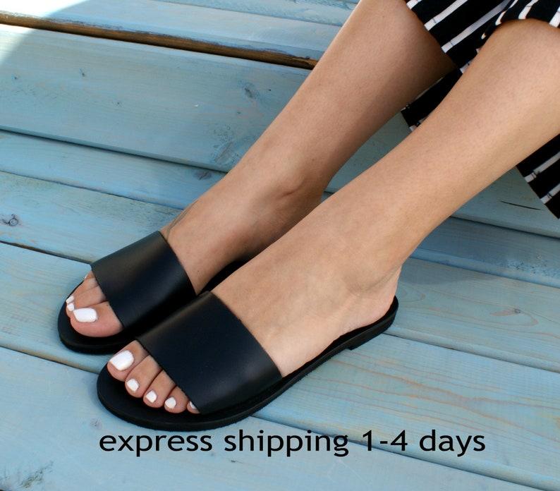 bcd191be09e8a PANOREA 2 sandals/ ancient Greek leather sandals/ slide sandals/ classic  leather sandals/ handmade sandals/ black sandals/ minimalist sandal