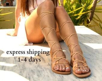 Sandales gladiateur en cuir AMAZONA / antique grecs sandales / dentelle haut sandales / Spartiates sandales / main sandale en cuir naturel / strappy sandale