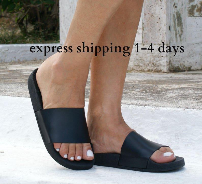 068c43e1f3e3a HESTIA 2 sandals/ ancient Greek leather sandals/ slide sandals/ classic  leather sandals/ handmade sandals/ black sandal/ minimalistic sandal