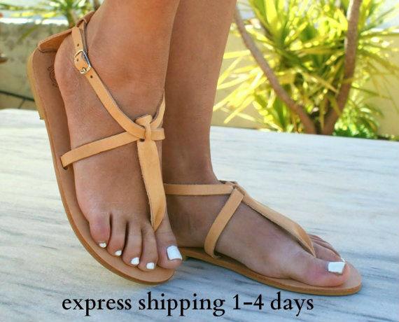 487edc913206 PHAEDRA sandals  ancient Greek leather sandals  t-strap sandals  roman  sandals  handmade sandals  classic flats  natural beige color sandals