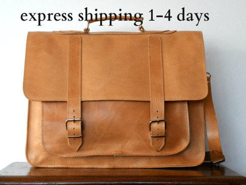 5cdfa3b9a5 Leather messenger bag  17 inch leather briefcase  shoulder