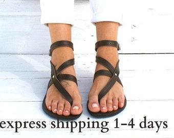 ANTIGONE 3 sandals/ Greek leather sandals/ ankle cuff sandals/ ancient grecian sandals/ handmade thong sandals/ Greek flats/ brown sandals