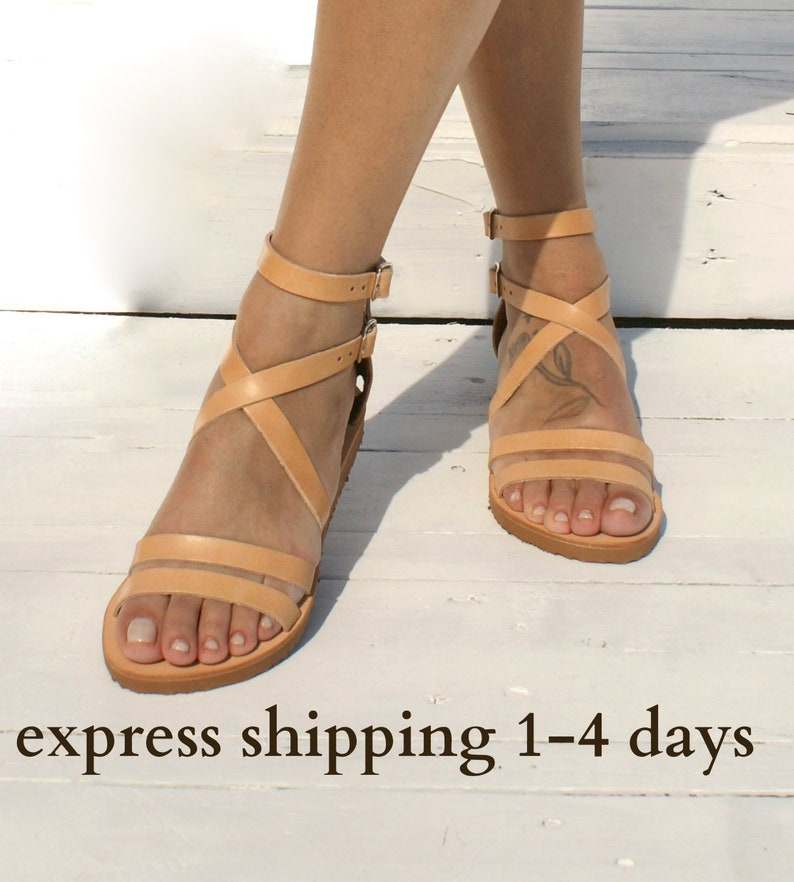 a7ae51dc0ecf9b ILIONI sandals  Greek leather sandals  ankle cuff sandals