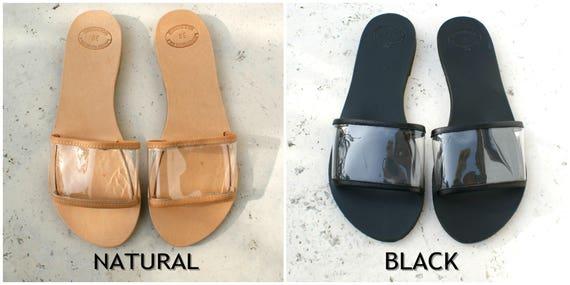 sandales Leather en cuir femme grec en transparent femme through diapositives PVC PVC plat sandale CALI cuir femme clear sandales glisse qUft77