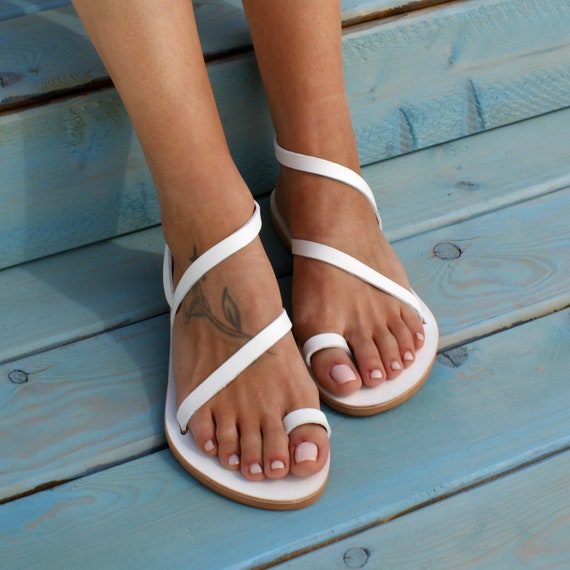 CLEOPATRA 4 ancient Greek leather sandals classic leather sandals handmade sandals strappy sandals white sandals toe ring sandals