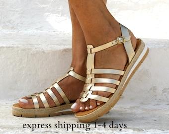 LYDIA 3 sandals/ Greek leather sandals/ Gladiator sandals/ ancient grecian sandals/ platform sandals/ roman sandals/ gold sandals