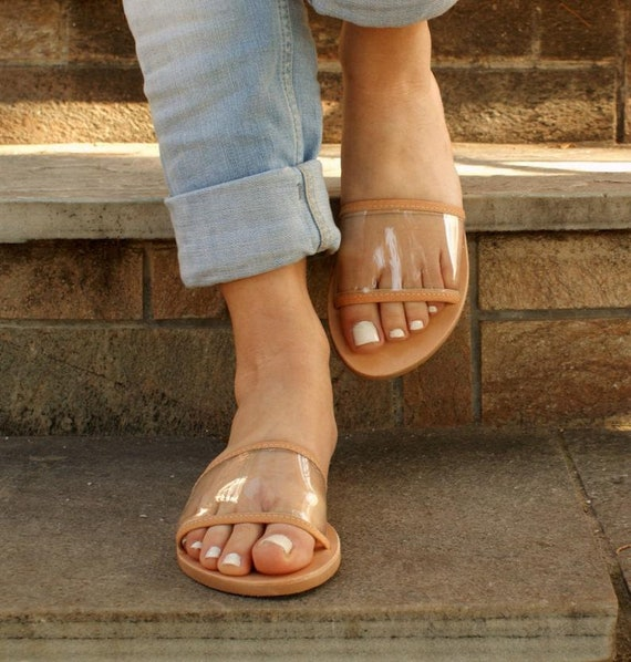 CALI Women transparent leather flat sandals Women clear PVC sandals See through slides Leather PVC slides women greek leather sandal
