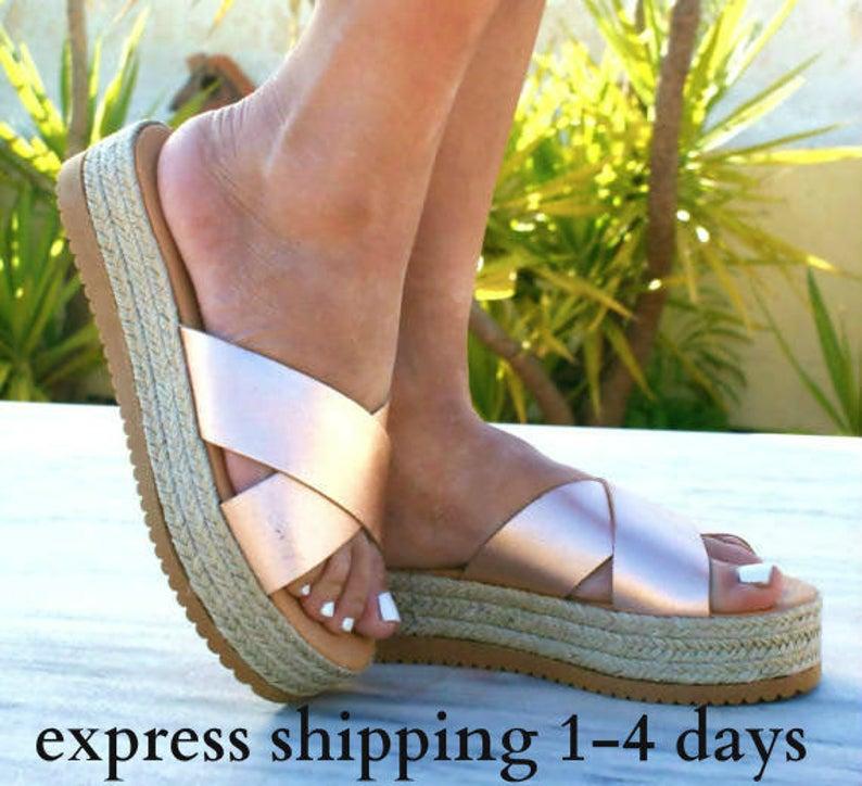 APHRODITE 3 sandals Greek leather sandals ancient grecian sandals espadrille platform sandals leather slide sandals gold sandals