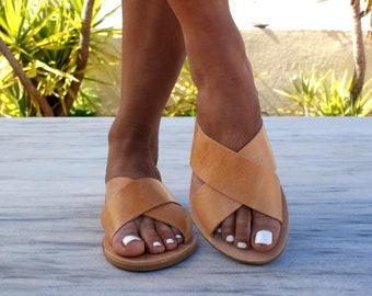 ERIS sandals/ ancient Grecian leather sandals/ slide sandals/ classic leather sandals/ handmade sandals/ summer sandals/ criss cross sandals