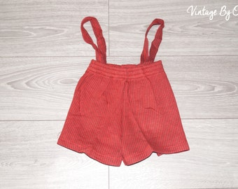 VINTAGE 1970s DOGTOOTH kids patterned shorts& straps age 3 years, New, Unused, Original packed,