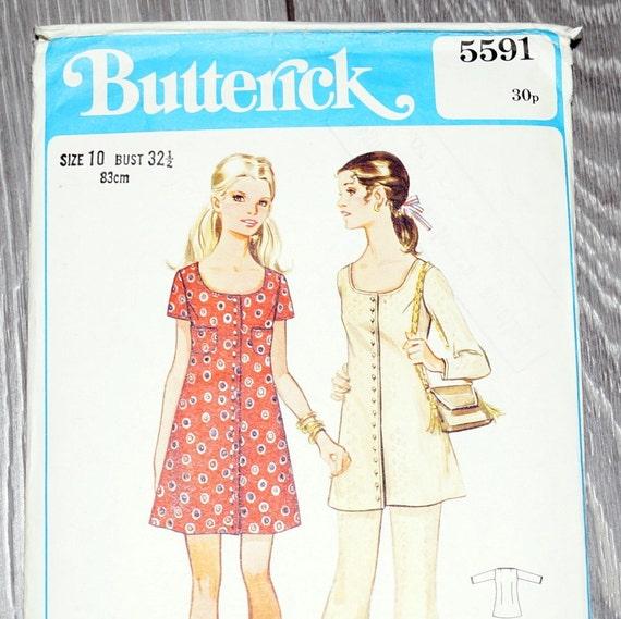 Túnica coser modelo Vintage de 1960 las mujeres botón túnica / | Etsy