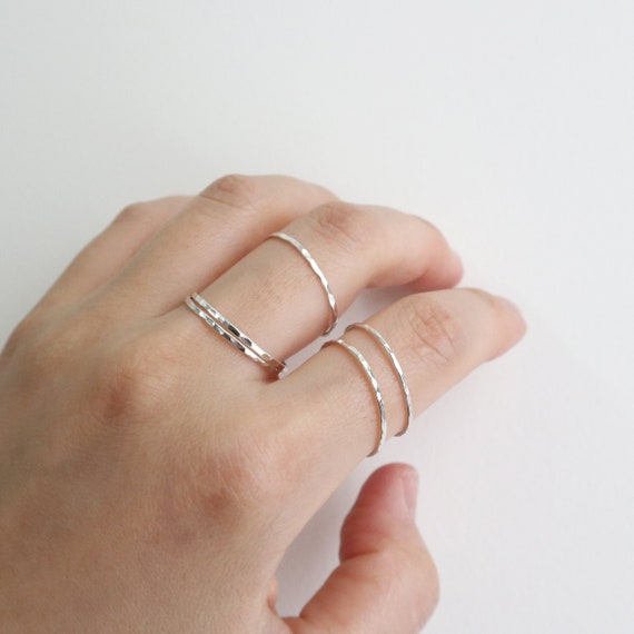 Build A Ring Set Thin Sterling Ring Slim Sterling Hammered Stacking Ring
