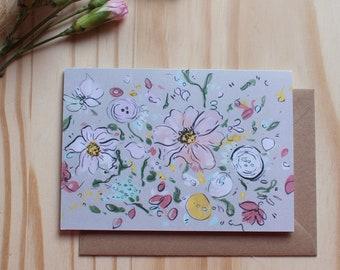 Pastel Floral greetings card - Blank inside