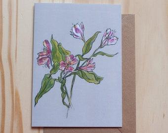 Alstroemeria flower card - Blank Inside