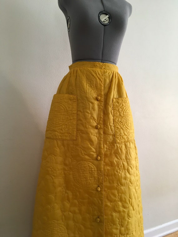 Asian style quilted maxi skirt - image 4