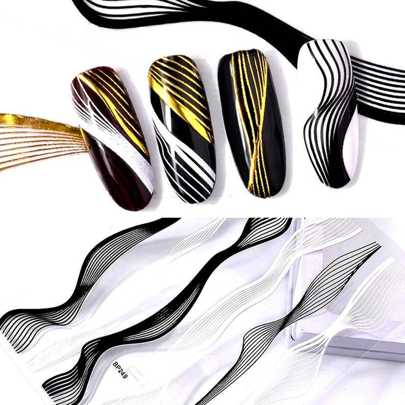 Wavy Stripe Nail Art Stickers Nail Stickers Nail Decals image 0