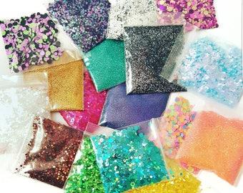 10 Glitter and Shimmer Grab, Nail Art Glitter, Loose Glitter, Chunky Glitter, Nail Glitter, Glitter Mix